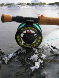 Cold gear - Nice setup on the ice of the near bank water. It was cold!