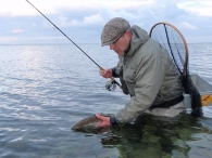 A foil fish - Releasing a trout caught with a Fleye Foil fly
