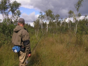 Through wild bogs to the river -