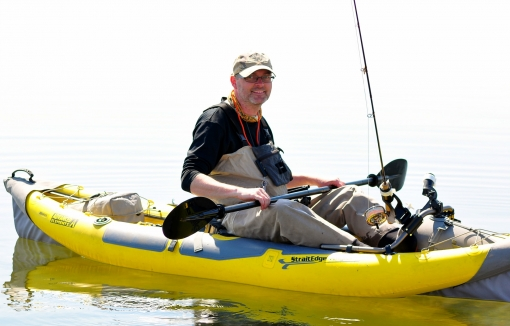 Martin in an inflatable kayak
