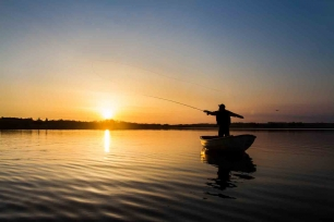 Casting in the low sun