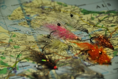 Map of Denmark and flies for coastal seatrout.