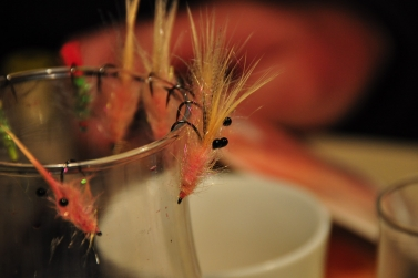 Fly tying with friends over a sip of Whiskey.