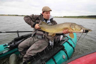 Pike from a pontoon boat