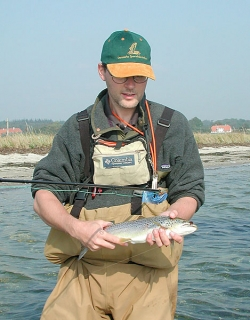 Martin Joergensen with a Danish seatrout of about 2 kilos (4 lbs.).