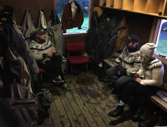 Debriefing in the waders room