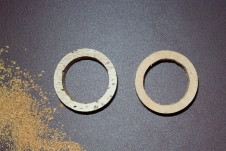 Cork rings for recessed hood - Filing job on the right one is done. Note the difference in regard of the appearance of the cork quality of both rings.<br />