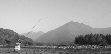 Spey rod on the Vedder - Ole casting for a King Salmon on the Vedder near Chilliwack