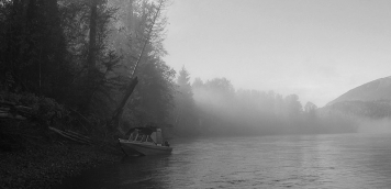 Misty - Rick's boat moored close to the bank one of the many places where we fished for steelhead on the Skeena.