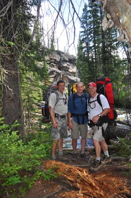 Tres Amigos - (L to R) GFF Partner Steve Schweitzer, Shane Murphy and Wes Wells pause by North Inlet Creek for a photo.