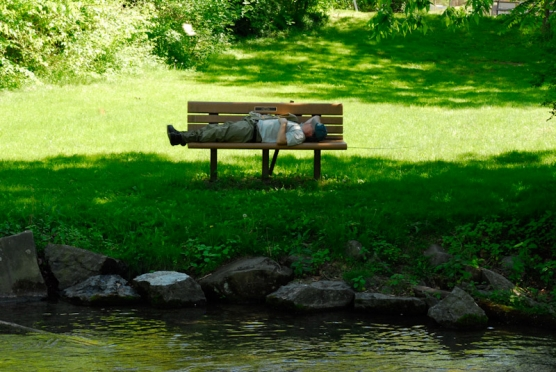 Angler taking a siesta.  Yellow Breeches, PA -