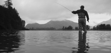 Coho hunter - Ole hunting for milling coho in a quiet backwater on the Harrison.