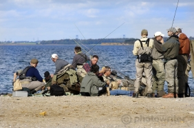 Anglers on a beach - Everybody chatting and relaxing