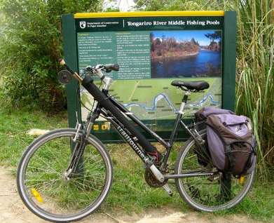 Geared up - A Tongariro River Motel bike equipped to go fishing