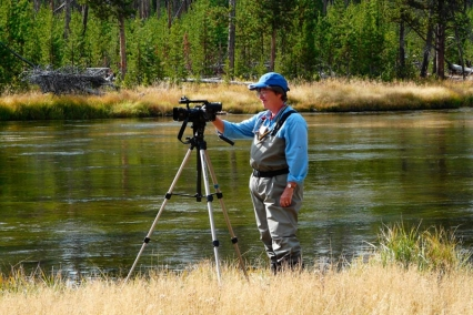 Filming - Barbara Klutinis at the Firehole in Yellowstone