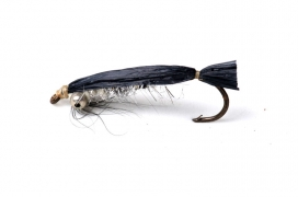 Black rafia baitfish - Rafia or Swiss straw is cheap, and I bought several colors in a much too crude quality, and used it generously on many, many flies with varying results.