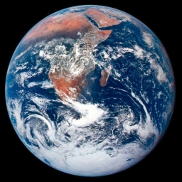 The classic Blue Marble - Blue (water), white (clouds) and red (sand)