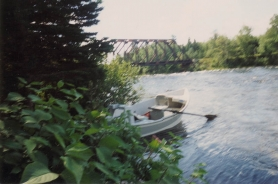 Kennebec River drift boat - A simple oversized rowboat is used to navigate these fast waters