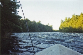 Kennebec River drift boat - The guide dropped the anchor to stop our drift
