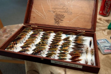 Niels\' collection - As always, impeccable and impressing. A whole box full of full dressed salmon flies - for fishing! All tied by Niels Have.