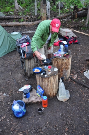 "Flapjacks! - Chef Wes Wells cooks up some tasty blueberry flap jacks on the final morning of the trip. ""Borrowed"" maple syrup packets from McDonald's taken just days before was the ticket to packing in messy syrup without the weight and waste!"
