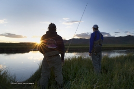 Anglers in the sunset -