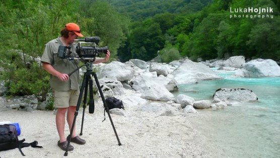 Filming in Slovenia - On the bank of a Slovenian chalk stream