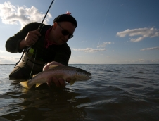 Rolandas with a fish - A nice sea trout