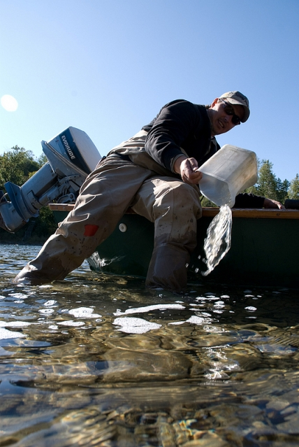 Emptying the canoe -