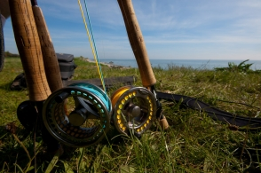 Sunshine gear - Reels and rods waiting for the action on a sunny day