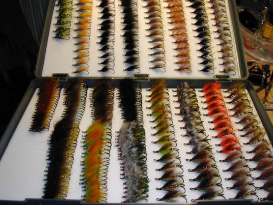 A few of Ken\'s flies - Ken keeps on tying in spite of having boxes like this