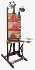 "Easel with ""cut-up"" paintings -"