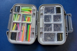 Hook box - A hook box with a selection of single hooks and junction tubed ready to add to any tube fly