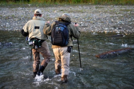 Help - Salmon fishing in BC with the kind assistance of my friend Steve, here helping me through a small side stream to the Vedder River.