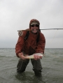 First sea trout - Lithuanian Rolandas Mincinauskas with his first sea trout