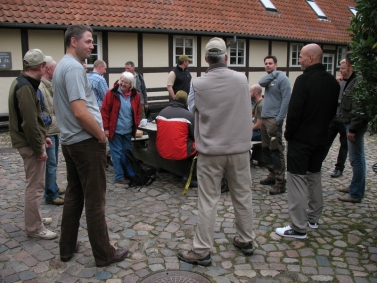 Meeting before fishing - Gathering in the yard of the hostel to make plans
