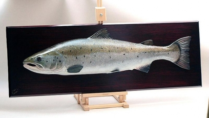 Salmon mount - still a wood carving -
