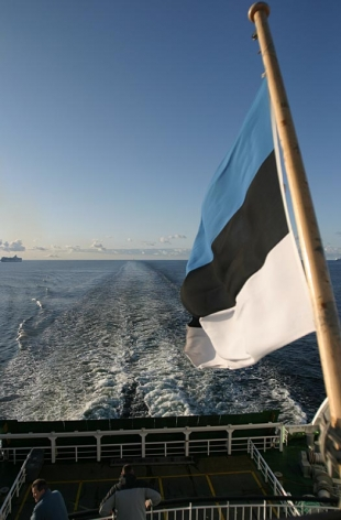 Goodbye - Estonian flag on the ferry to Helsinki