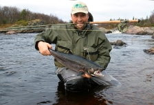 Presenting a Kola salmon - The author with another salmon
