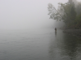 Foggy Skeena - Fishing for steelhead in BC with the sun almost burning off the haze