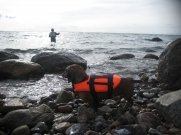 Frits in his life jacket -<br />