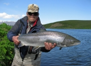Steini holding my second 100 cm salmon from 2011. -