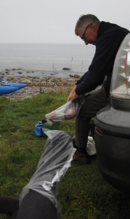 Plasticized - Henning who taught me the trick and myself pulling plastic over our feet before donning the waders