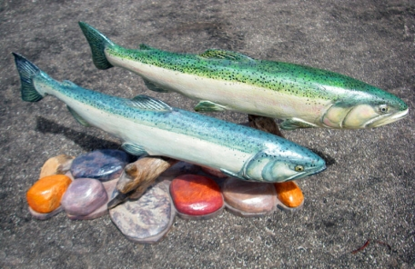 Steelead and Chinook Salmon in the river  - Wood carvings
