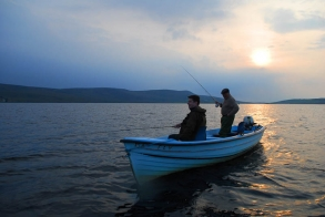 Irish fishing - Fishing for salmon on a lake in Ireland traditionally calls for long rods and two or three flies on the leader.