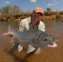 Jim Klug with a tigerfish -