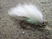 White bait - This small zonker was tied using white rabbit and large eyes covered by epoxy