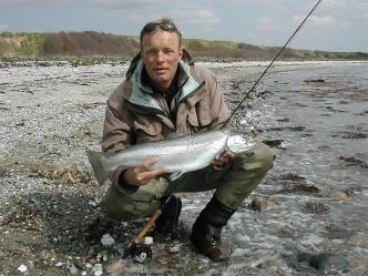 A decent Fred-fish - Ken Bonde Larsen with a Danish sea trout caught on a Grey Frede