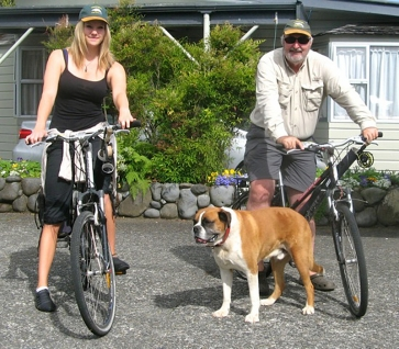 Ready to go to the river - Fishing guide Kicki Lissborg and Australian client Murray Cullen, bikes loaded with gear and ready to take them to the river - along with Boof, the motel dog.