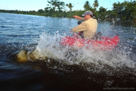 Action close up - The tarpon can easily turn and tug the float tube